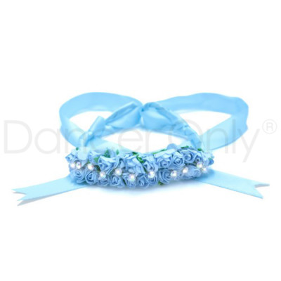 BABY BLUE DAINTY FLORAL TIARA by Dancer Only