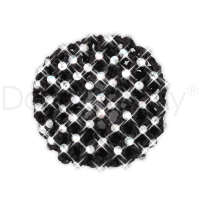 BLACK CROCHETED RHINESTONE BUN COVER by Dancer Only