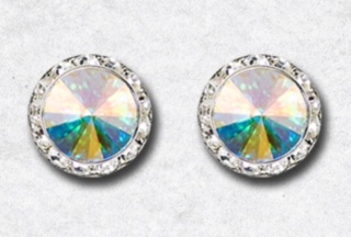 15mm AB Pierced Earrings with Swarovski Crystals