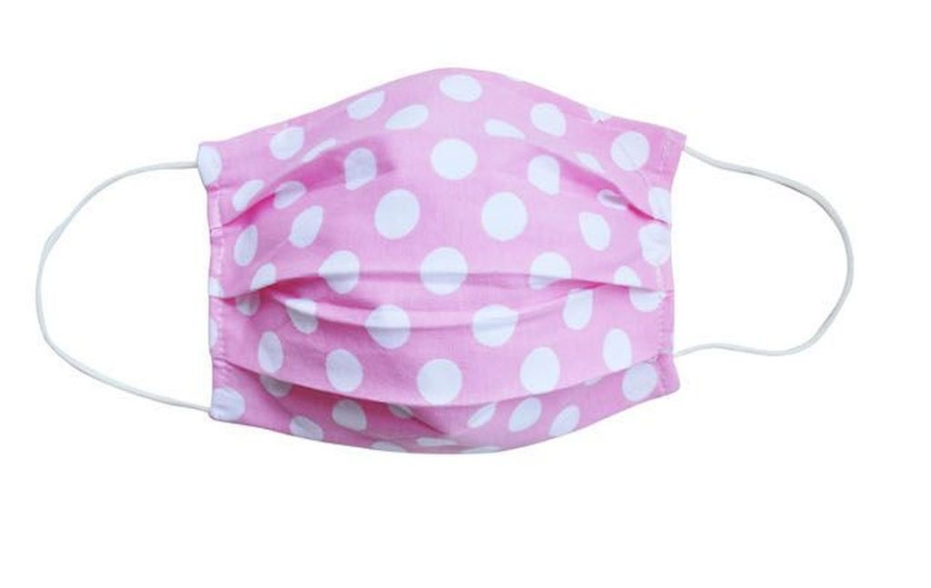 ADULT PINK POLKA DOT FABRIC FACE MASKS BY DANCER ONLY