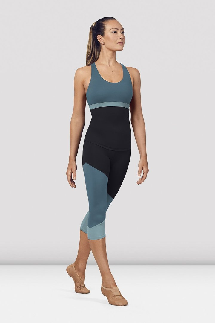 Ladies Color Panelled Capri Leggings