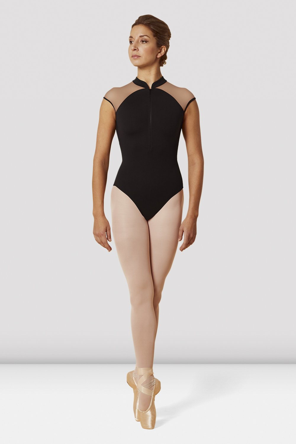 Zip Front High Neck Cap Sleeve Leotard BY MIRELLA